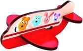 Hape Houten Vormenpuzzel Airplane 3d Rood 4-delig