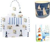 Cadeautas zeilboot vuurtoren + mok beker zeilboten + vuurtoren keukenschort maritiem nautical