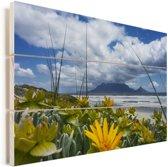 Gele bloemen voor de Tafelberg in Zuid-Afrika Vurenhout met planken 30x20 cm - klein - Foto print op Hout (Wanddecoratie)