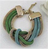 2 Love it Knoop - Armband - Metaal - Blauw - Groen - Goudkleurig