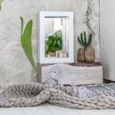 Spiegel Vurenhout Wit S | Spiegel Handgemaakt 60 x 40 cm