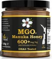 MANUKA HONING MGO® 600+ 250gr / BEE NATURAL MANUKA HONING IN EEN ECHT GLAZEN POT.