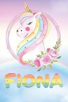 Fiona: Fiona's Unicorn Personal Custom Named Diary Planner Perpetual Calendar Notebook Journal 6x9 Personalized Customized Gi