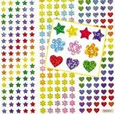 Holografische ministickers ster bloem hartvormen - knutselspullen voor kinderen - scrapbooking verfraaiing om te maken en versieren kaarten decoraties en knutselwerkjes (348 stuks)