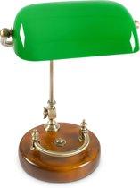 relaxdays Bankierslamp groen glas - hout, Notarislamp, Bureaulamp, Tafellamp, Vintage lamp