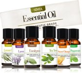 SIMIA Premium Essentiële Oliën Set 100% Natuurlijk - Aromatherapie - Aroma Diffuser - Massage - 6 x 10ml