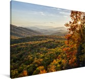 Uitzicht op het landschap bij de Blue Ridge Parkway tijdens de herfst Canvas 180x120 cm - Foto print op Canvas schilderij (Wanddecoratie woonkamer / slaapkamer) XXL / Groot formaat!