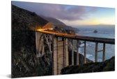 Bixby Creek Bridge bij schemering bij de Big Sur Amerika Aluminium 180x120 cm - Foto print op Aluminium (metaal wanddecoratie) XXL / Groot formaat!
