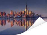 Weerspiegeling van de het stadslandschap en het World Trade Center in een Rivier Poster 160x120 cm - Foto print op Poster (wanddecoratie woonkamer / slaapkamer) XXL / Groot formaat!