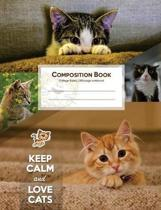 Composition Book, College Ruled Writing Notebook Journal for School, Student, Teacher, Office 7.44 X 9.69 In, Cats Theme