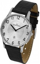 Jacques Lemans horlogeband 1-1626 Leder Zwart 21mm + zwart stiksel