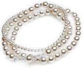 Elastische - Armbanden - Witte Parels met Kristallen - Swarovski
