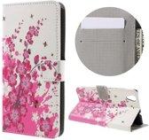 Huawei Y6 II   Honor 5A Hoesje Roze Bloemen met Opbergvakjes
