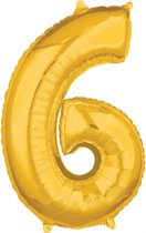 26 Number 6 Gold 26 Inch Foil Balloon P31 packed 43 x 66cm
