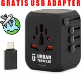 URBAN TRAVELER Reisstekker - Wereldstekker - Met extra USB-kabel - 150+ landen - 3x USB-A - 1x USB-C - Automatische reset zekering - Zwart