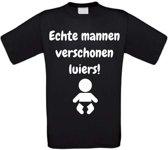 Echte mannen verschonen luiers T-shirt maat XL zwart