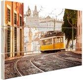 Tram in Lissabon Hout 120x80 cm - Foto print op Hout (Wanddecoratie)