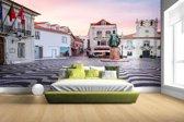 Fotobehang vinyl - Stadsplein Lissabon breedte 380 cm x hoogte 265 cm - Foto print op behang (in 7 formaten beschikbaar)