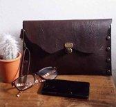 aec8ddd05c8 Toetie & Zo Handgemaakte Leren Clutch Bruin 3, tasje, makeuptas, bruin, leer