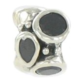 Quiges Bedel Bead - 925 Zilver - Zirkonia Zwart Kraal - Z604