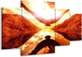 Canvas schilderij Vogel | Rood, Geel, Oranje | 160x90cm 4Luik
