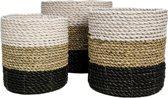 HSM Collection Mandenset - raffia/zeegras - wit/naturel/zwart - set van 3