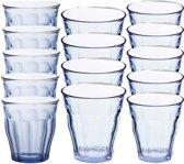Drinkglazen/waterglazen Picardie set blauw 220 / 250 / 310 ml - 18-delig - koffie/thee glazen