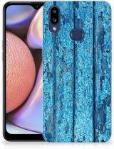 Samsung Galaxy A10s Bumper Hoesje Blauw Wood