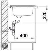 Keramisch spoelbak Blanco Axon II 6 S Opbouw 516554 Zwart. Draaiknopbediening. Rechts