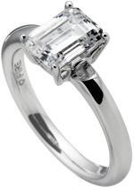 Diamonfire - Zilveren ring met steen Maat 18.5 - Chaton - Baguette - Rechthoekige steen