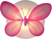 Funnylight LED kids lamp wit vlinder XL roze - Trendy plafonniere voor de baby en kinder slaap kamer