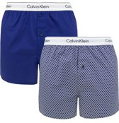 Calvin Klein - Heren 2-Pack Wijd Slim Fit Boxershorts Blauw Stippen - XL