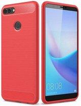 Huawei Y9 2018 - Geborstelde TPU Cover - Rood