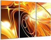 Glasschilderij Abstract   Geel, Goud, Bruin   120x80cm 3Luik   Foto print op Glas    F000310
