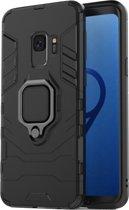 Luxe Extreem Stevige Armor Hoesje voor Samsung Galaxy S9 - Shockproof Case - Cover Zwart - Magneet - Magnetisch voor autohouder - met Ring Kickstand