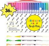 Professionele stiften voor volwassenen - 36 stuks - Brush pennen en Fineliners set - Bullet journal producten - Aquarel handlettering pennen fijne dunne stiften - Fineliners Kleuren Stiften kinderen - Kleurstiften - Kleurpennen - Viltstiften