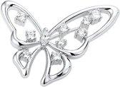 The Jewelry Collection Broche Vlinder Zirkonia - Zilver Gerhodineerd