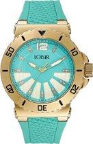 LOISIR dameshorloge turquoise - rubber horlogebandje - 44 mm - IP rosé goud