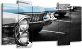 Schilderij | Canvas Schilderij Oldtimer, Auto | Grijs, Blauw, Zwart | 120x65cm 5Luik | Foto print op Canvas