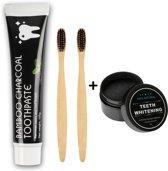 Houtskool Tandpasta 105g + 2 Bamboe Tandenborstels Gratis - Charcoal Toothpaste - Tandpasta - Voor Wittere Tanden - Teeth Whitening - Tanden Bleken - Bamboo Toothbrush