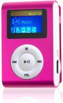 Mini clip MP3 speler FM radio met display roze en