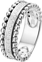 The Fashion Jewelry Collection Ring Oxi Zirkonia - Zilver Geoxideerd