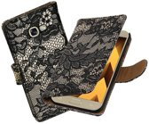 BestCases.nl Zwart Lace booktype wallet cover hoesje Samsung Galaxy A5 2017