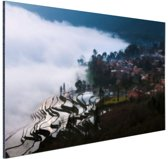 Rijstvelden in de mist China Aluminium 120x80 cm - Foto print op Aluminium (metaal wanddecoratie)