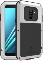 Metalen fullbody hoes voor Samsung Galaxy A6 Plus (2018) / A6+ (2018), Love Mei, metalen extreme protection case, zwart-grijs