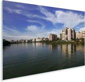 Uitzicht op het meer van de stad Dhaka Plexiglas 90x60 cm - Foto print op Glas (Plexiglas wanddecoratie)