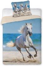 Witte paarden op het strand - dekbedovertrek - eenpersoons met 1 kussensloop