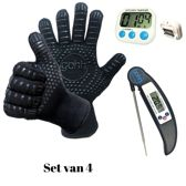 Set van 1 Paar BBQ handschoenen  (gemaakt van Aramide en Kevlar) - Ovenhandschoenen - 1 Digitale Kookthermometer - Barbecuethermometer met Inklapbare RVS Sonde en 1 Kitchen Timer - Digitale Kookwekker met Groot Display en Magneet