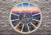 Fotobehang Brick Wall City Skyline Sunset | M - 104cm x 70.5cm | 130g/m2 Vlies
