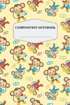 Book Monkey Composition Notebook: Cute Yellow Baby Monkey Notebook for Elementary and Middle School Pretty Brown Monkey Composition Journal for Kids t